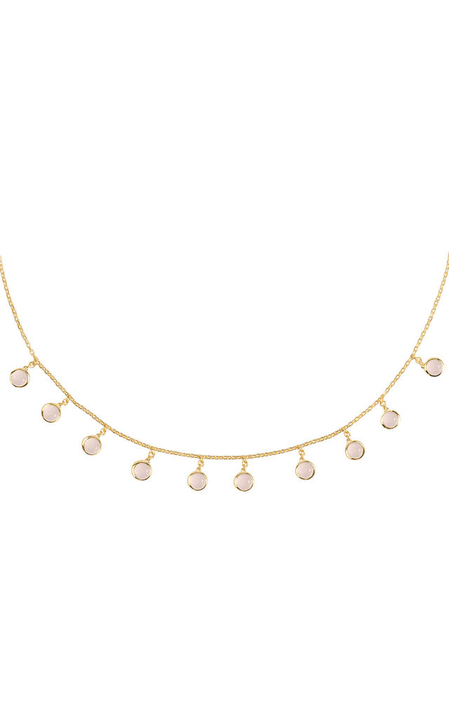 Florence Round Gemstone Necklace Gold Rose Quartz by Latelita