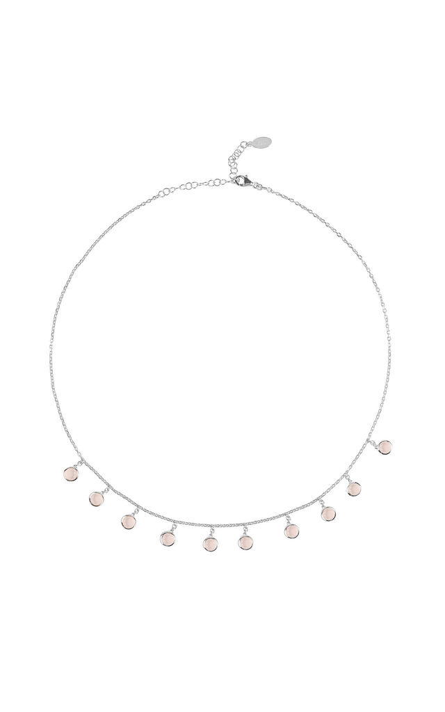 Florence Round Gemstone Necklace Silver Rose Quartz by Latelita London