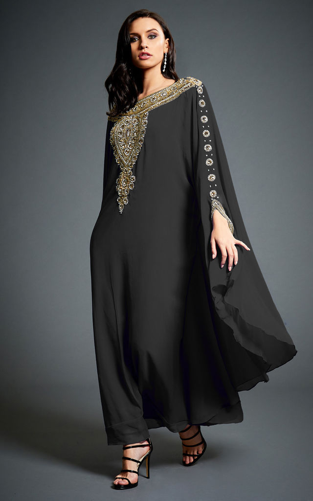 Amina Black Embellished Kaftan Maxi Dress by Jywal