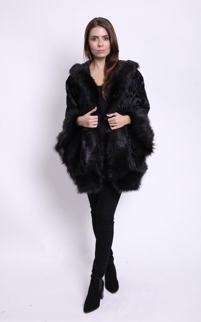 Afina Ponyskin Faux Fur Trimmed Cape by Faux England