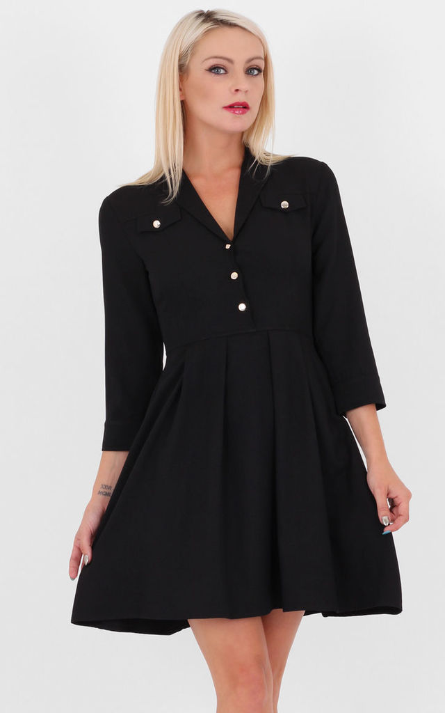 Black V Neck 3/4 Sleeves Pleated Mini Skater Shirt Dress by MISSTRUTH