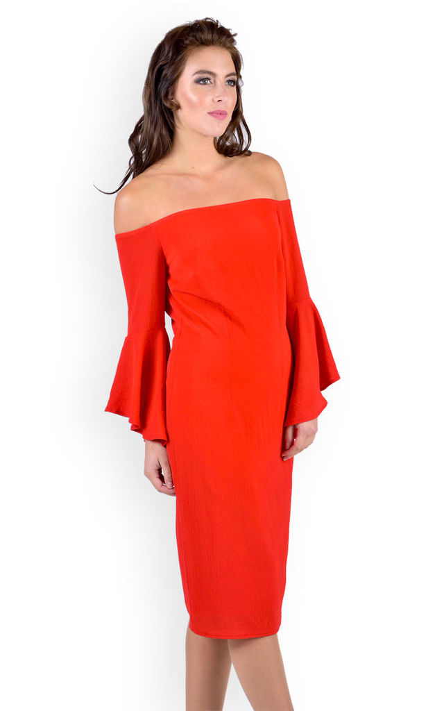 Red Bardot Midi Dress With Frill Sleeve by Madam Rage