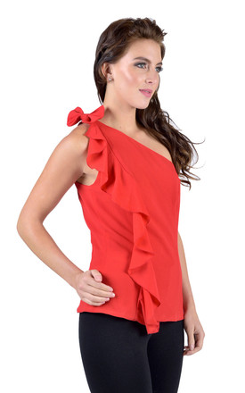 Red One Shoulder Bow Top by Madam Rage