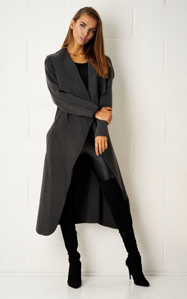 Naomi Waterfall Shawl Collar Coat In Charcoal Grey by Frontrow Limited