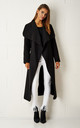 Naomi Waterfall Shawl Collar Coat In Black by Frontrow Limited