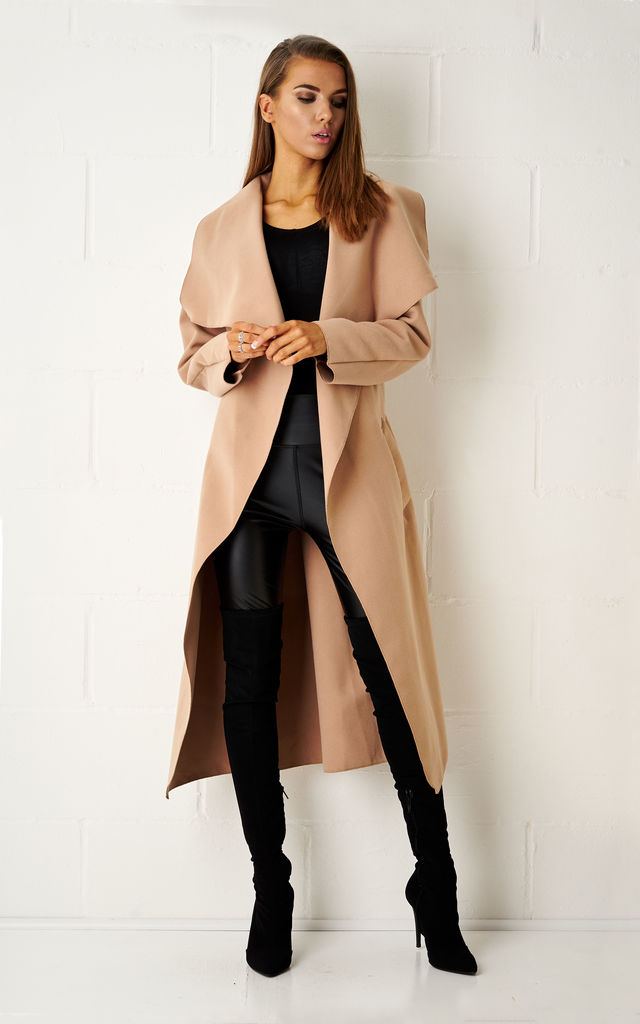 Naomi Waterfall Shawl Collar Coat In Camel by Frontrow Limited