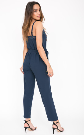 Navy Lace Trim Jumpsuit - Donna by likemary