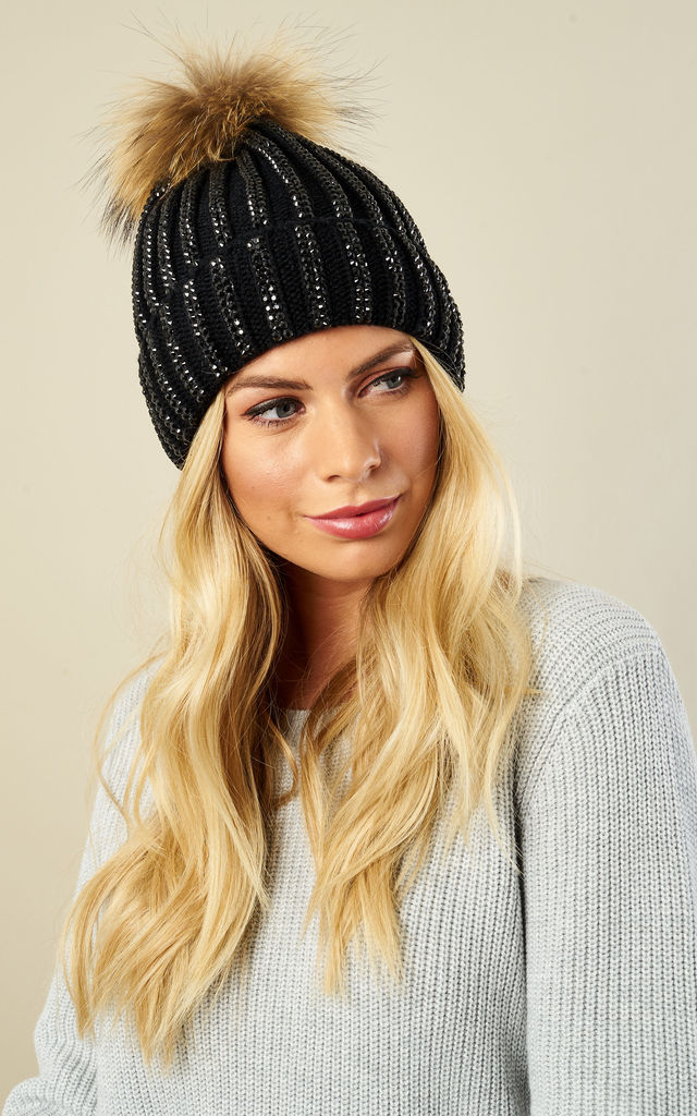 Black Diamanté Detachable Pom Pom Hat by Bella and Blue