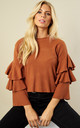 Rust Layered Bell Sleeve Jumper by Bella and Blue