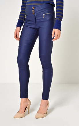 Margo High Waist Coated Trousers in Navy by Marc Angelo