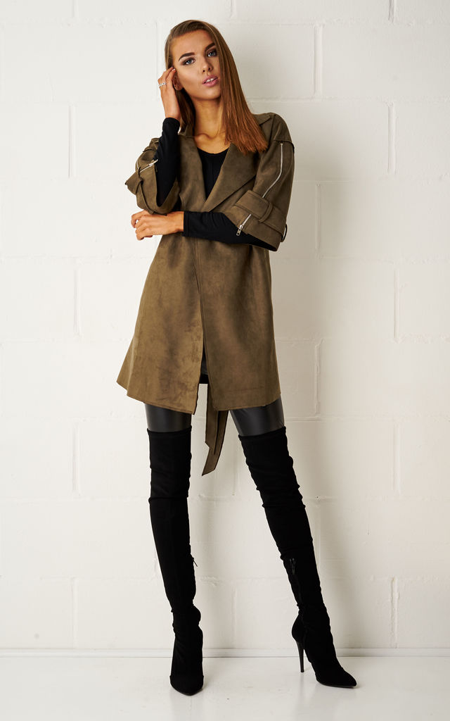 Loryene Khaki Suede Waterfall Coat by Frontrow Limited