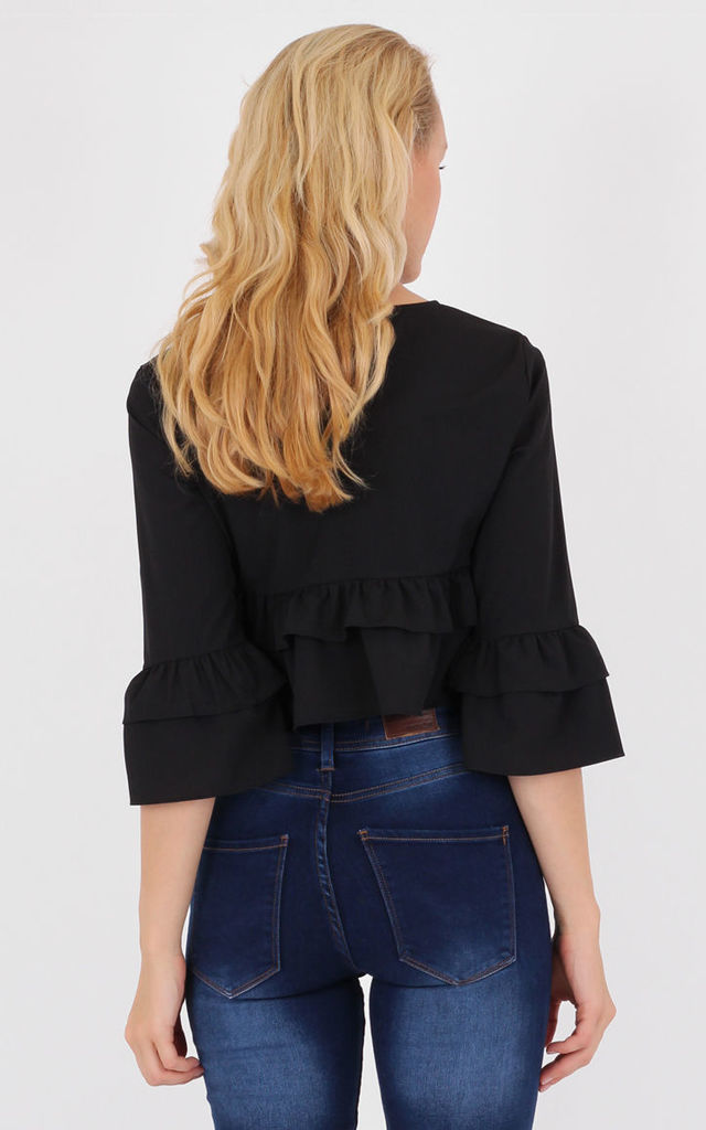 Black Crew Neck 3/4 Ruffle Sleeves  Frill Hem Crop Top by MISSTRUTH