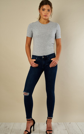 Dark Denim Cropped Zip Skinny Frayed Jeans by Bella and Blue