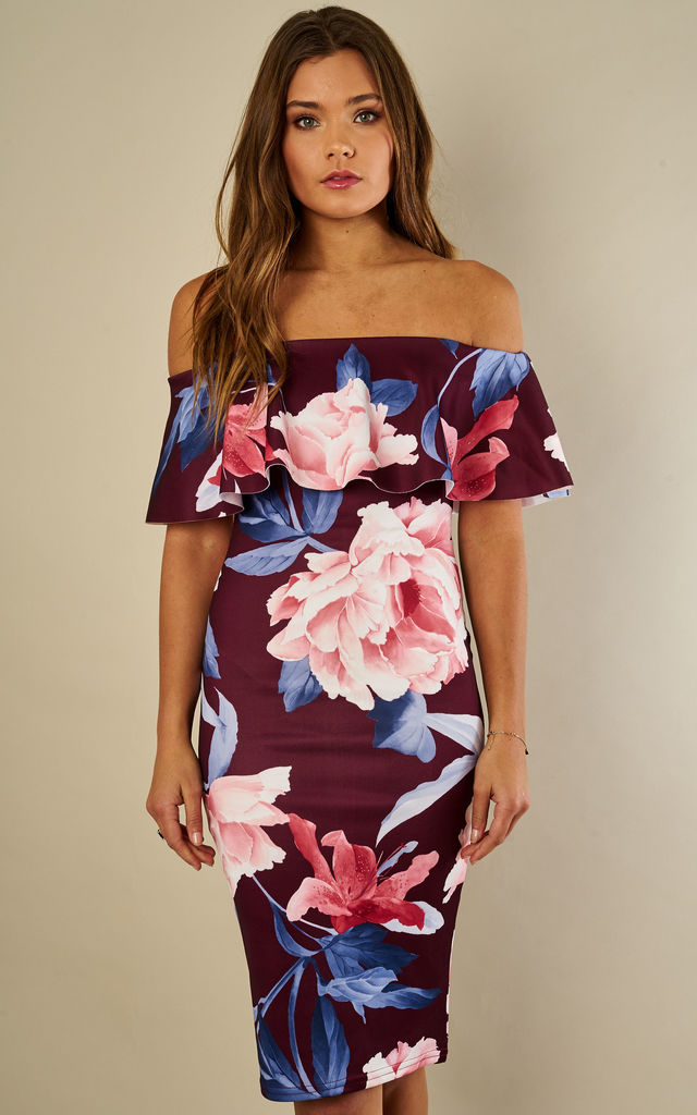 Wine Floral Print Bardot Dress by Lilah Rose