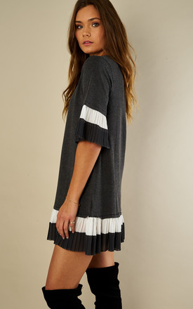 Grey Pleated Sleeve Smock Jumper Dress by Lilah Rose