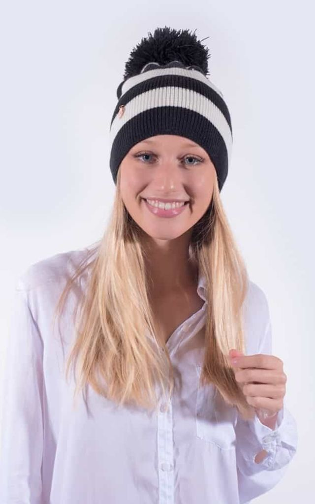 Black and White Striped Beanie with Black Faux Fur Pom by Amelia Jane London