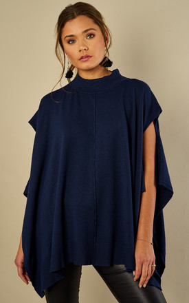 Navy High Neck Poncho Jumper by Bella and Blue Product photo
