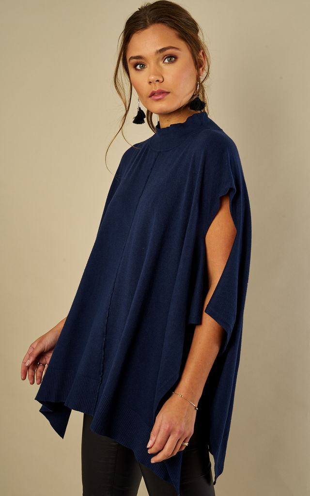Navy High Neck Poncho Jumper by Lilah Rose