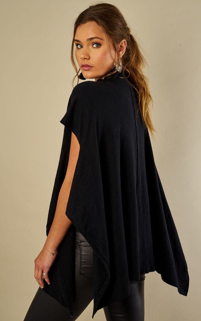 Black High Neck Poncho Jumper by Bella and Blue