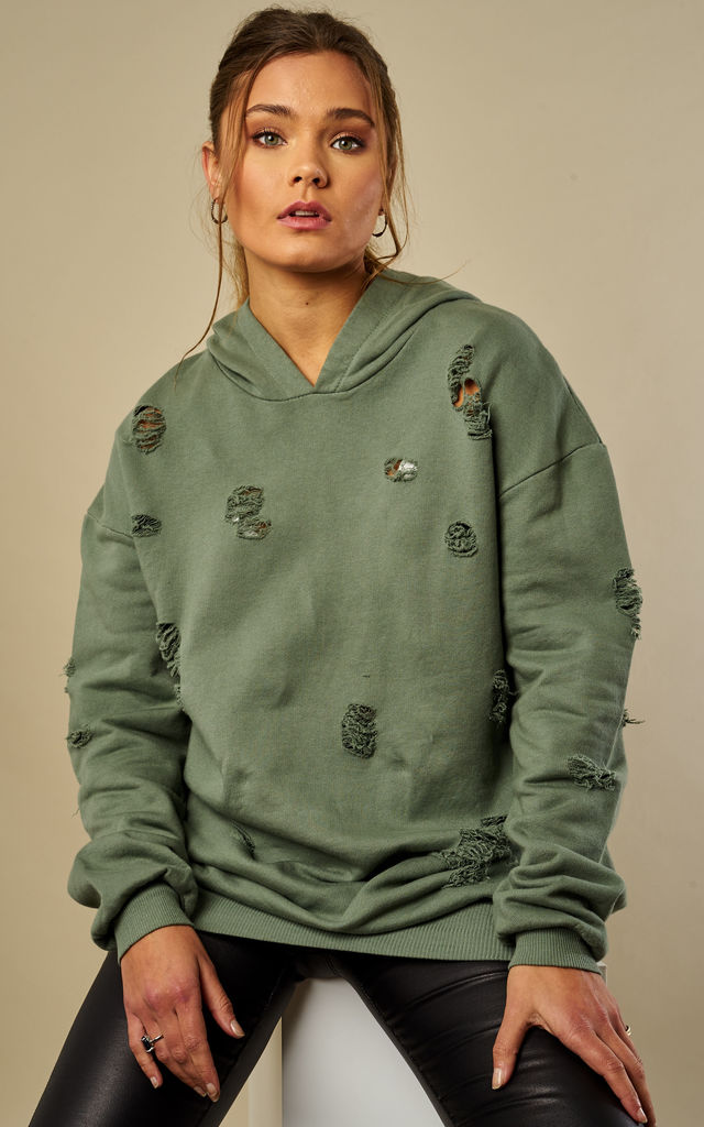 Khaki Distressed Hoodie by Lilah Rose