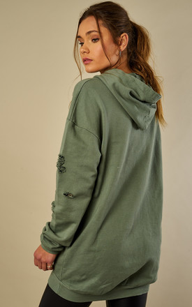 Khaki Distressed Hoodie by Bella and Blue