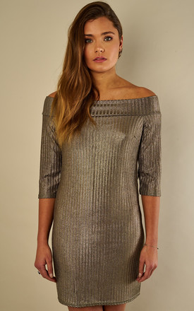 Khaki Metallic Rib Off The Shoulder Dress by Bella and Blue Product photo