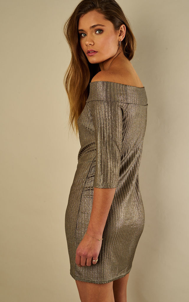 Khaki Metallic Rib Off The Shoulder Dress by Bella and Blue