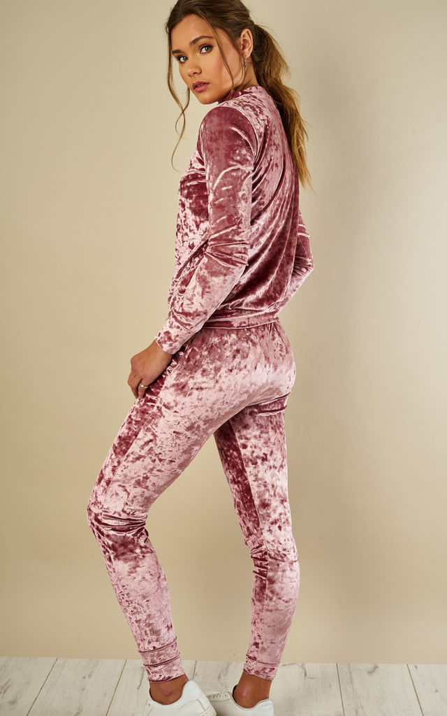 ROSE CRUSHED VELVET TOP AND JOGGER by Bella and Blue
