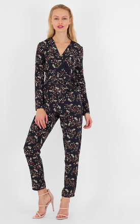 Floral Print V Neck Wrap Front Long Sleeves Jumpsuit by MISSTRUTH