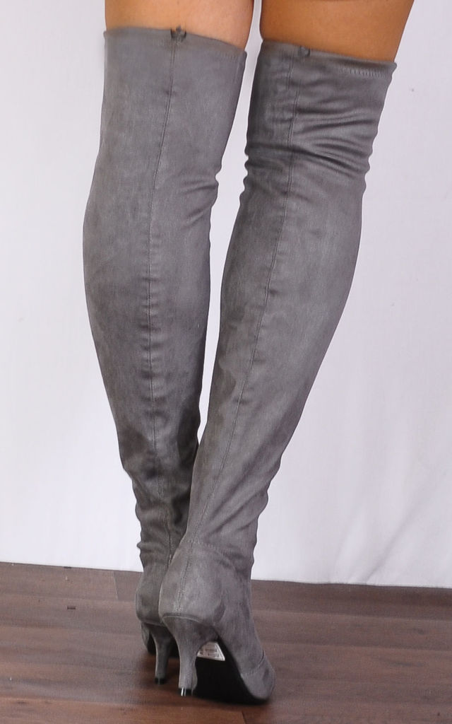 Grey Sock Faux Suede Kitten Heel Stretch Over the Knee Boots by Shoe Closet