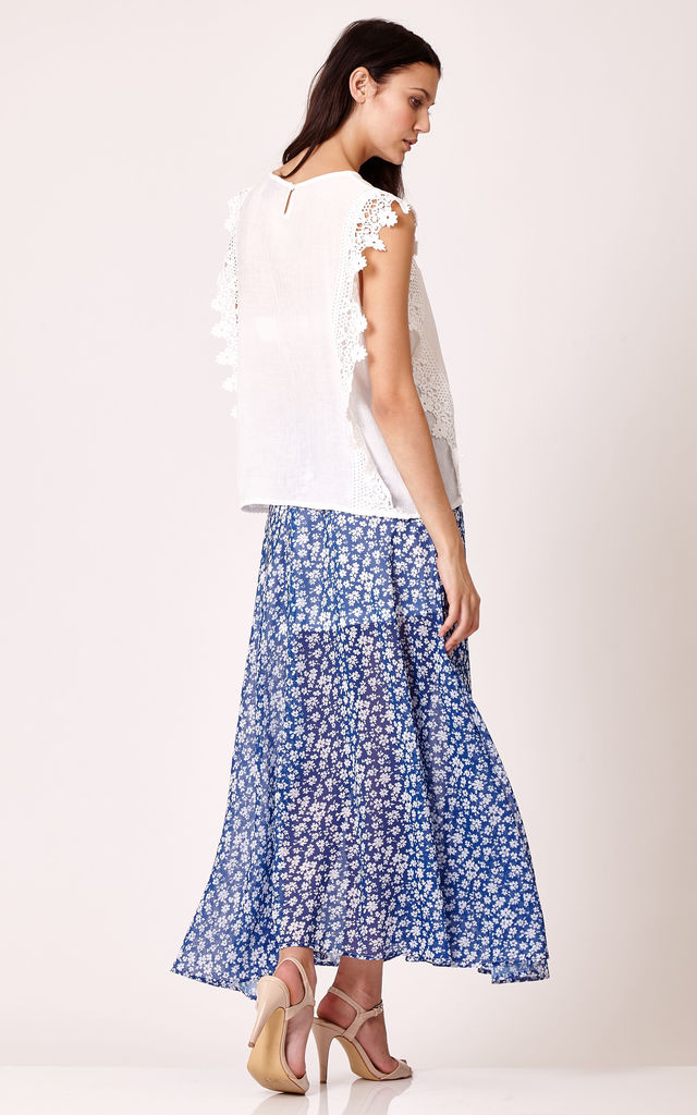 Printed Maxi Skirt by Cutie London