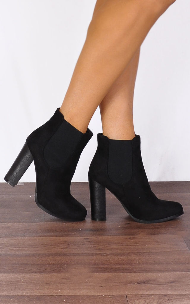 Black Faux Suede Gusset Ankle Boots High Heeled Shoes by Shoe Closet