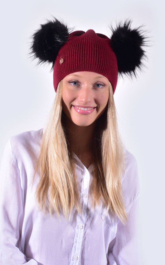 Burgundy Hat with Black Faux Fur Poms by Amelia Jane London