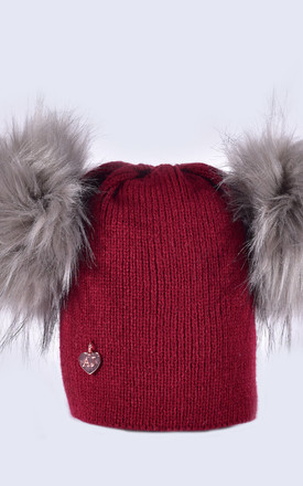 Burgundy Hat with Grey Faux Fur Poms by Amelia Jane London