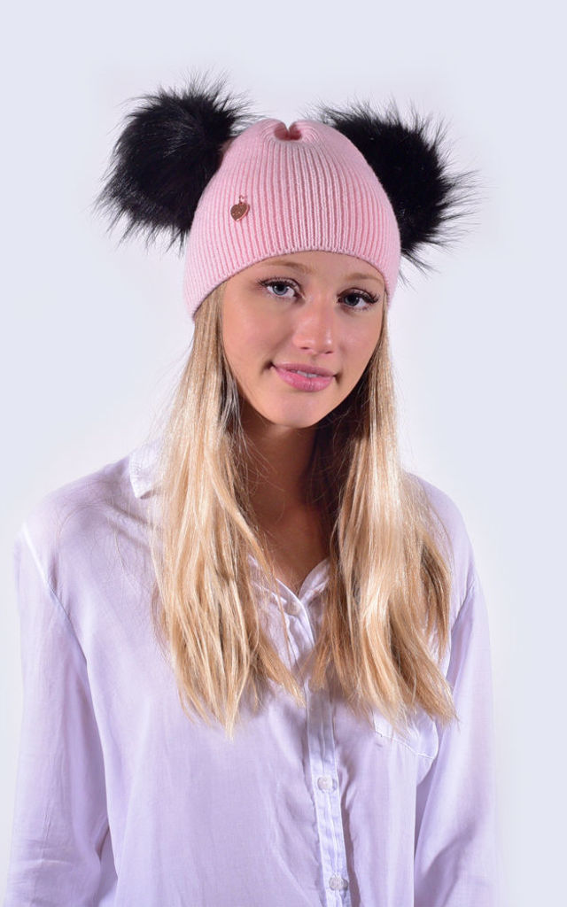 Candy Pink Hat with Black Faux Fur Poms by Amelia Jane London