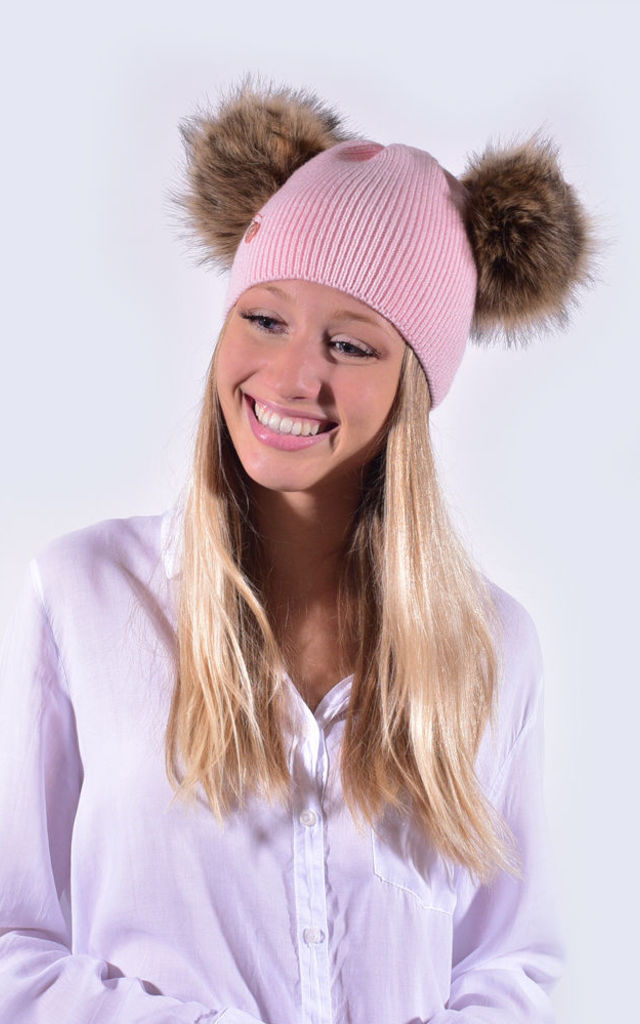 Candy Pink Hat with Brown Faux Fur Poms by Amelia Jane London