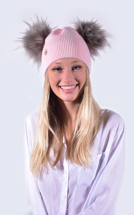 Candy Pink Hat with Grey Faux Fur Poms by Amelia Jane London