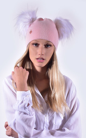 Candy Pink Hat with White Faux Fur Poms by Amelia Jane London