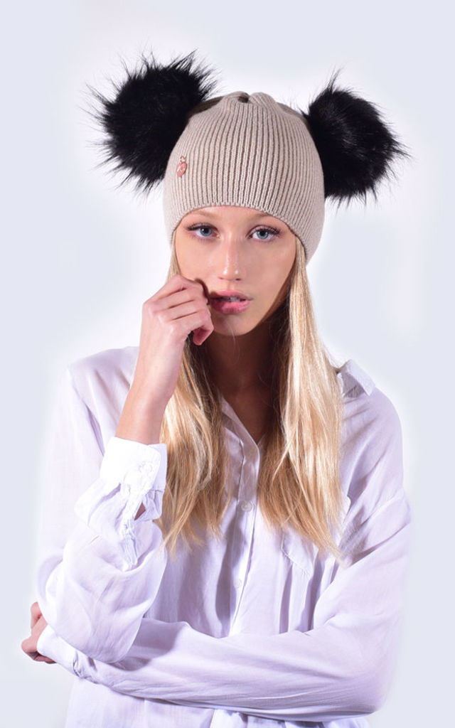 Oatmeal Hat with Black Faux Fur Poms by Amelia Jane London