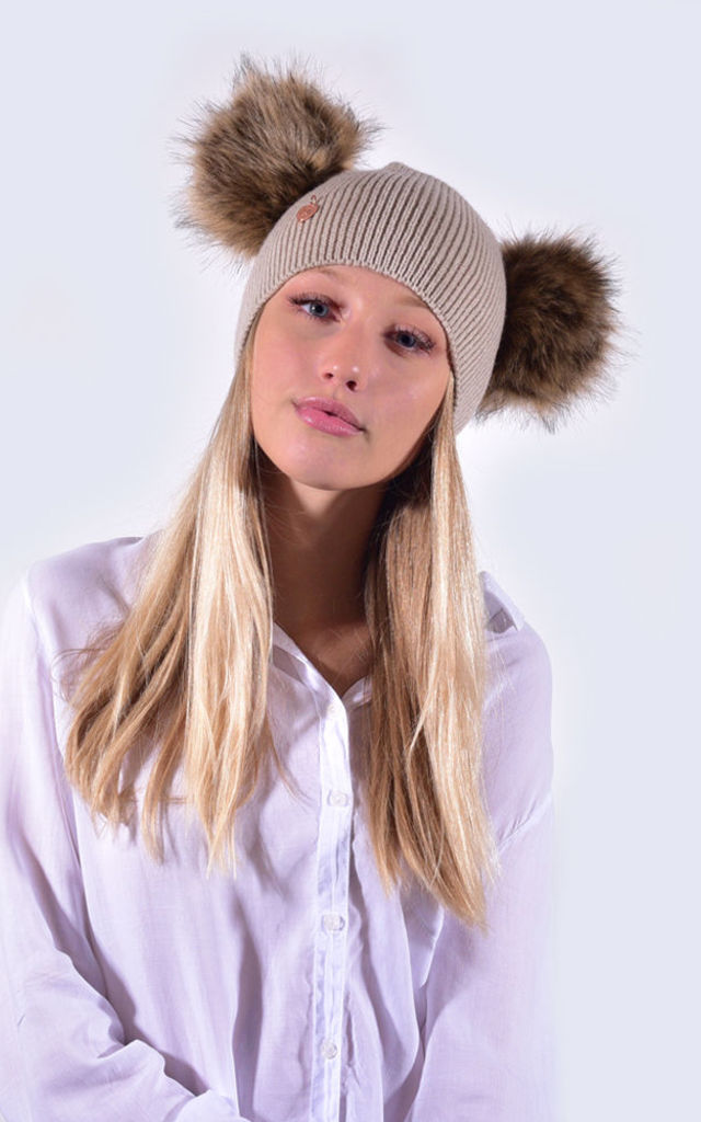 Oatmeal Hat with Double Brown Faux Fur Poms by Amelia Jane London