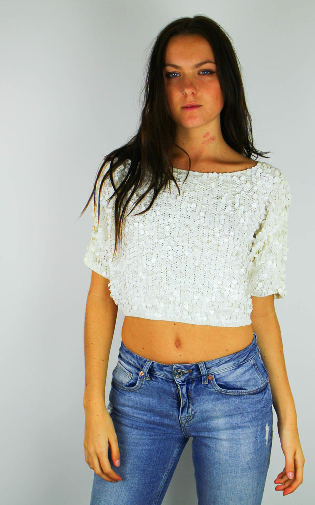 Vintage Sparkly Disc Embellished Sequin Crop Party Top by Re:dream Vintage