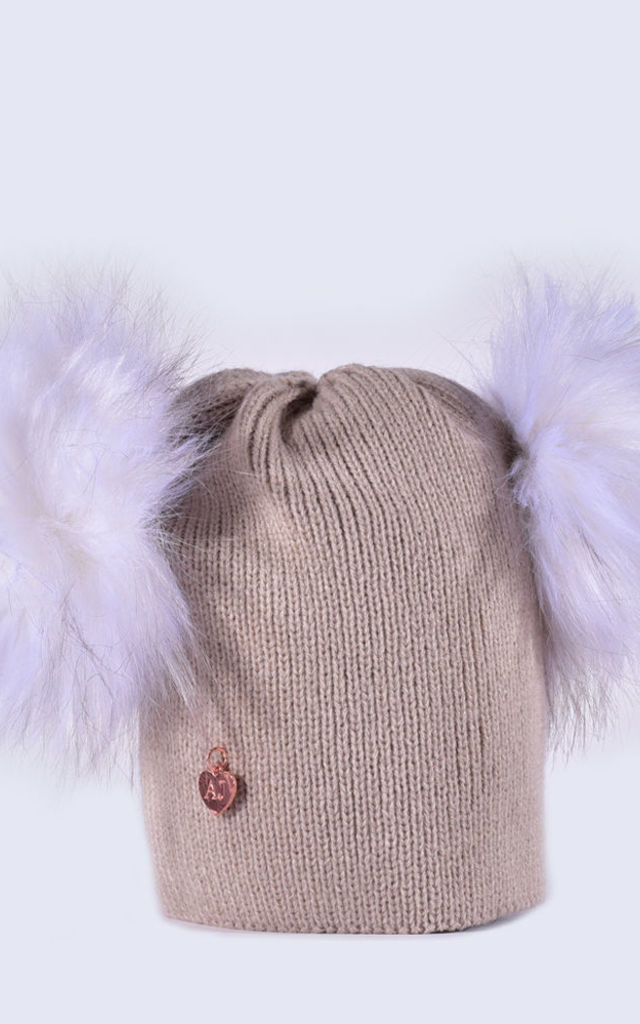Oatmeal Hat with Double White Faux Fur Poms by Amelia Jane London