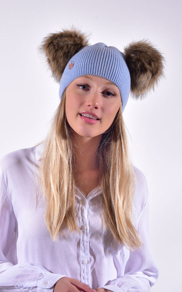 Sky Blue Hat with Brown Faux Fur Poms by Amelia Jane London
