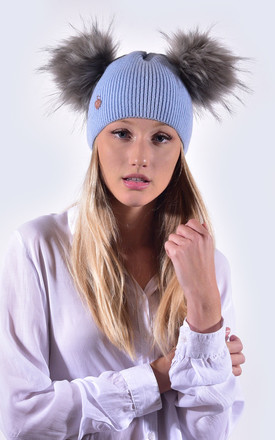 Sky Blue Hat with Grey Faux Fur Poms by Amelia Jane London