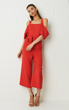 Thea Culotte Cold Shoulder Jumpsuit in Red by Frontrow Limited