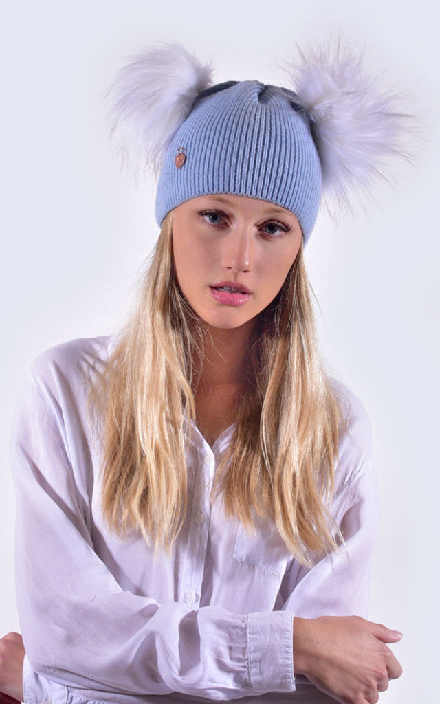 Sky Blue Hat with White Faux Fur Poms by Amelia Jane London