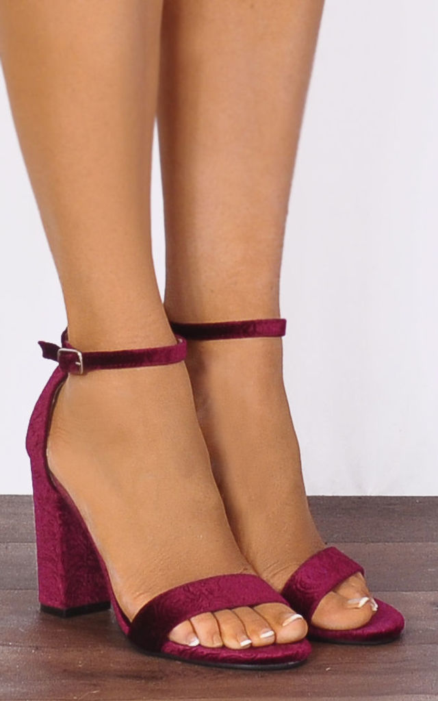 Wine Velvet Baroque Velvet Barely There Strappy Sandals High Heels by Shoe Closet