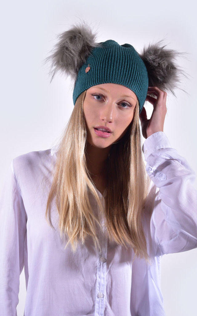 Teal Hat with Grey Faux Fur by Amelia Jane London