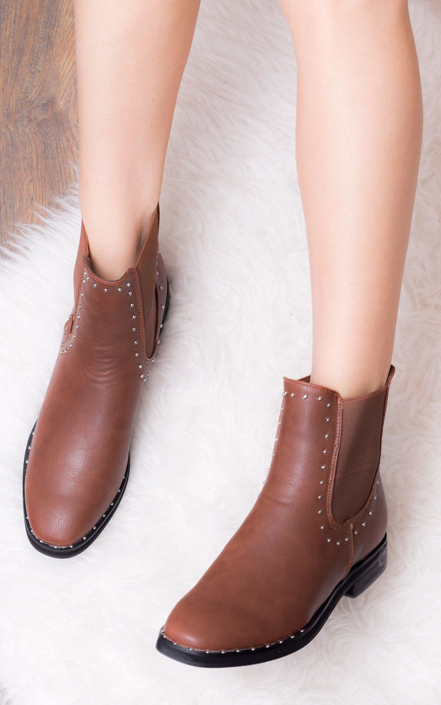 ALANI Flat Chelsea Ankle Boots - Tan Leather Style by SpyLoveBuy