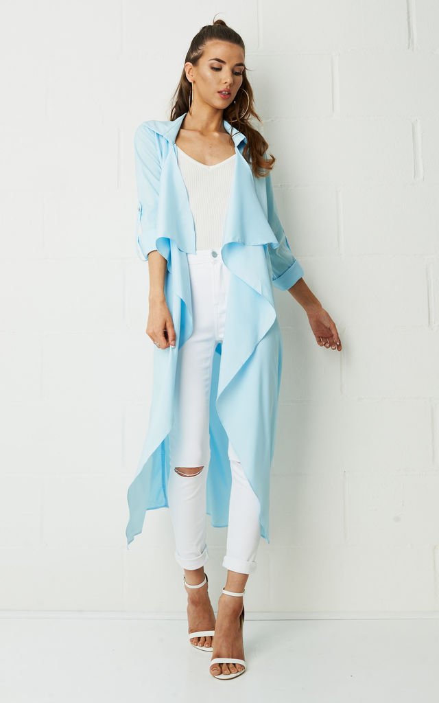 Maddison Silky Duster Coat In Blue by Frontrow Limited